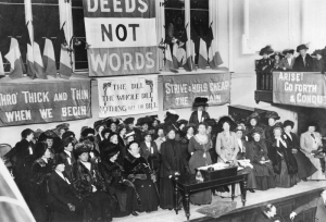 Suffragettes, England, 1908, asking men for deeds not words