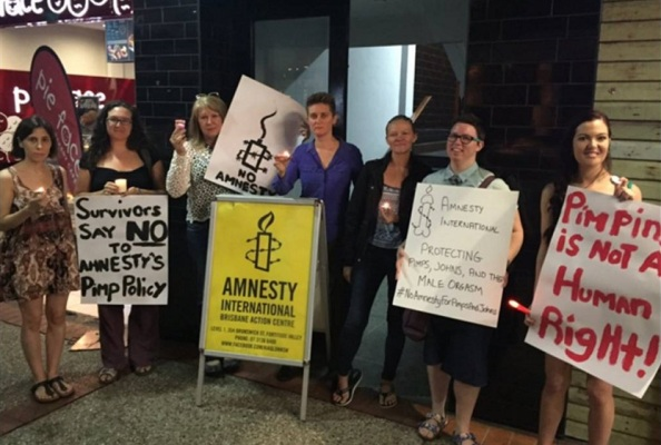 Brisbane women protesting outside the Brisbane Amnesty Int. head office QLD